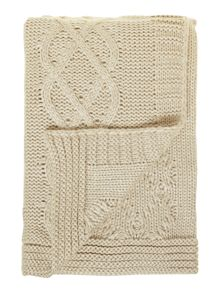 Chunky knit throw, cream