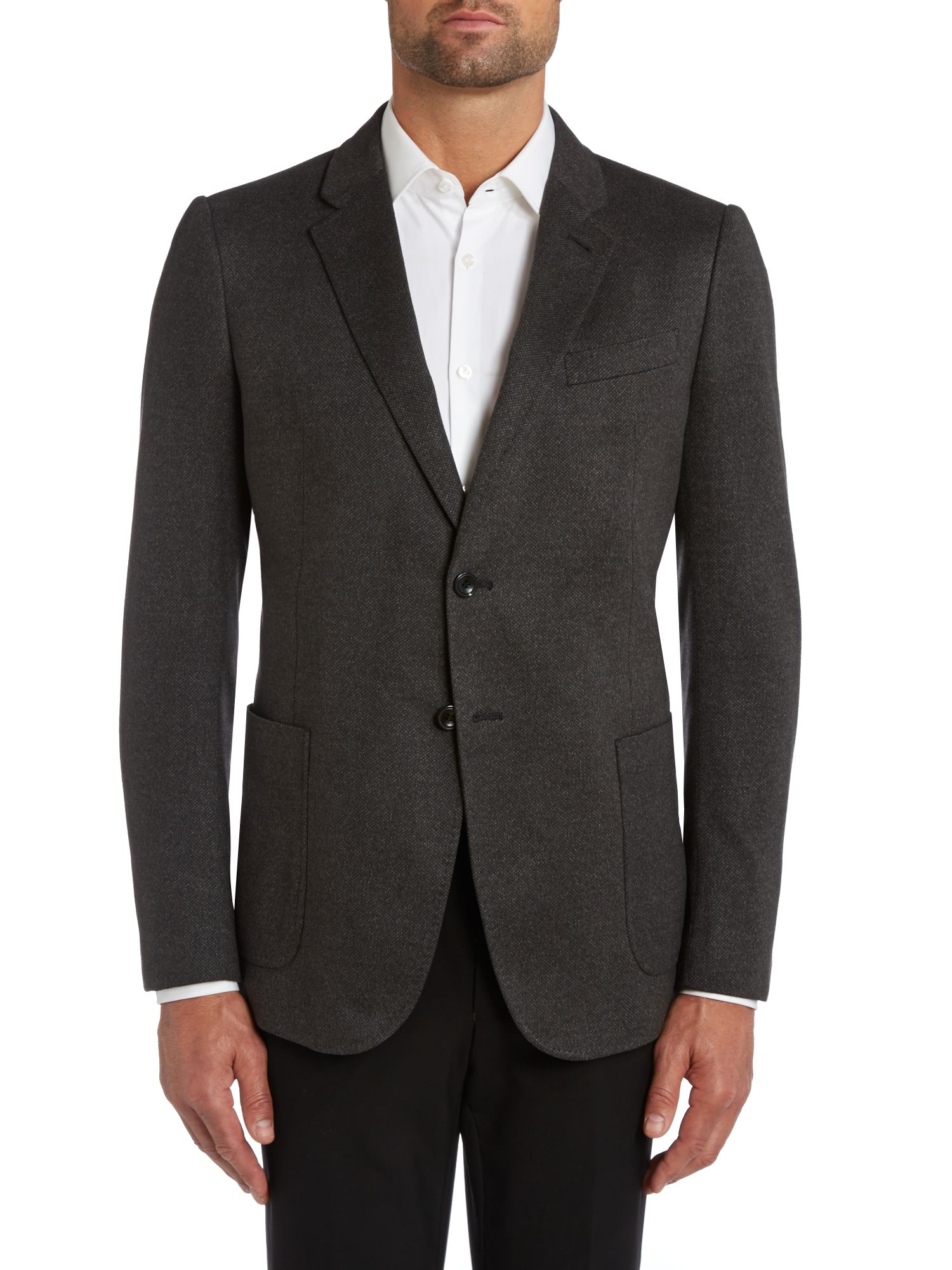 Solid slim fit jacket