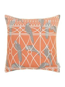 Aviary print cushion, rust