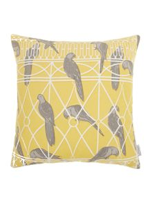 Aviary print cushion, chartreuse