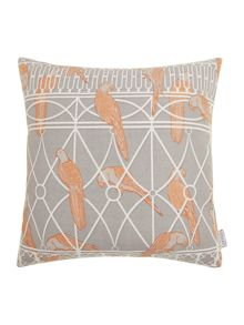 Aviary print cushion, grey
