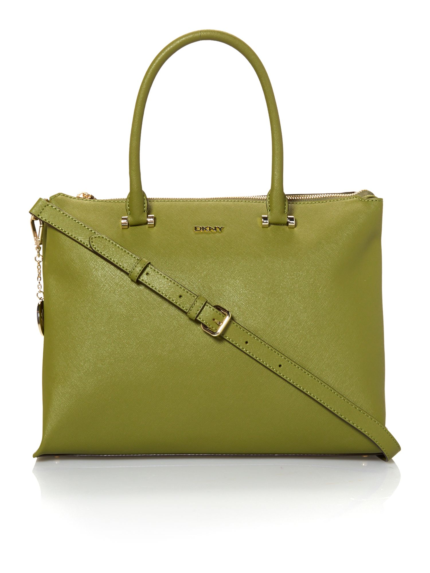Saffiano green large tote bag
