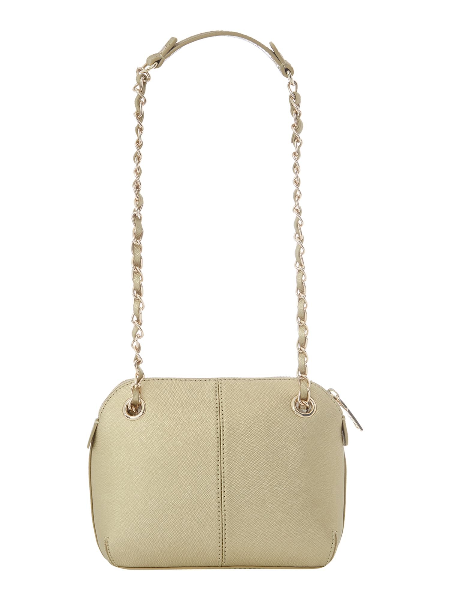 Saffiano gold small crossbody bag