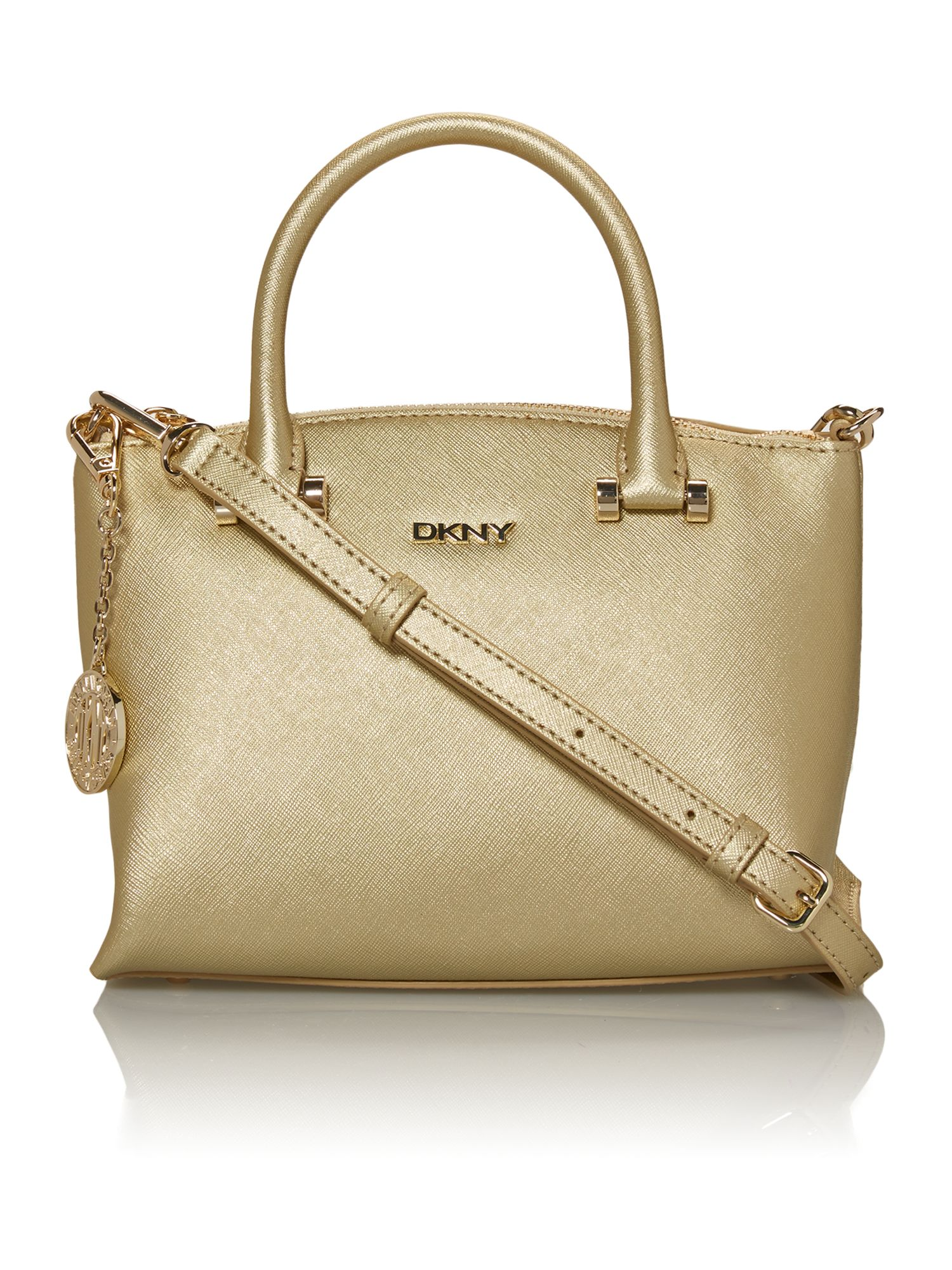 Saffiano gold mini tote bag