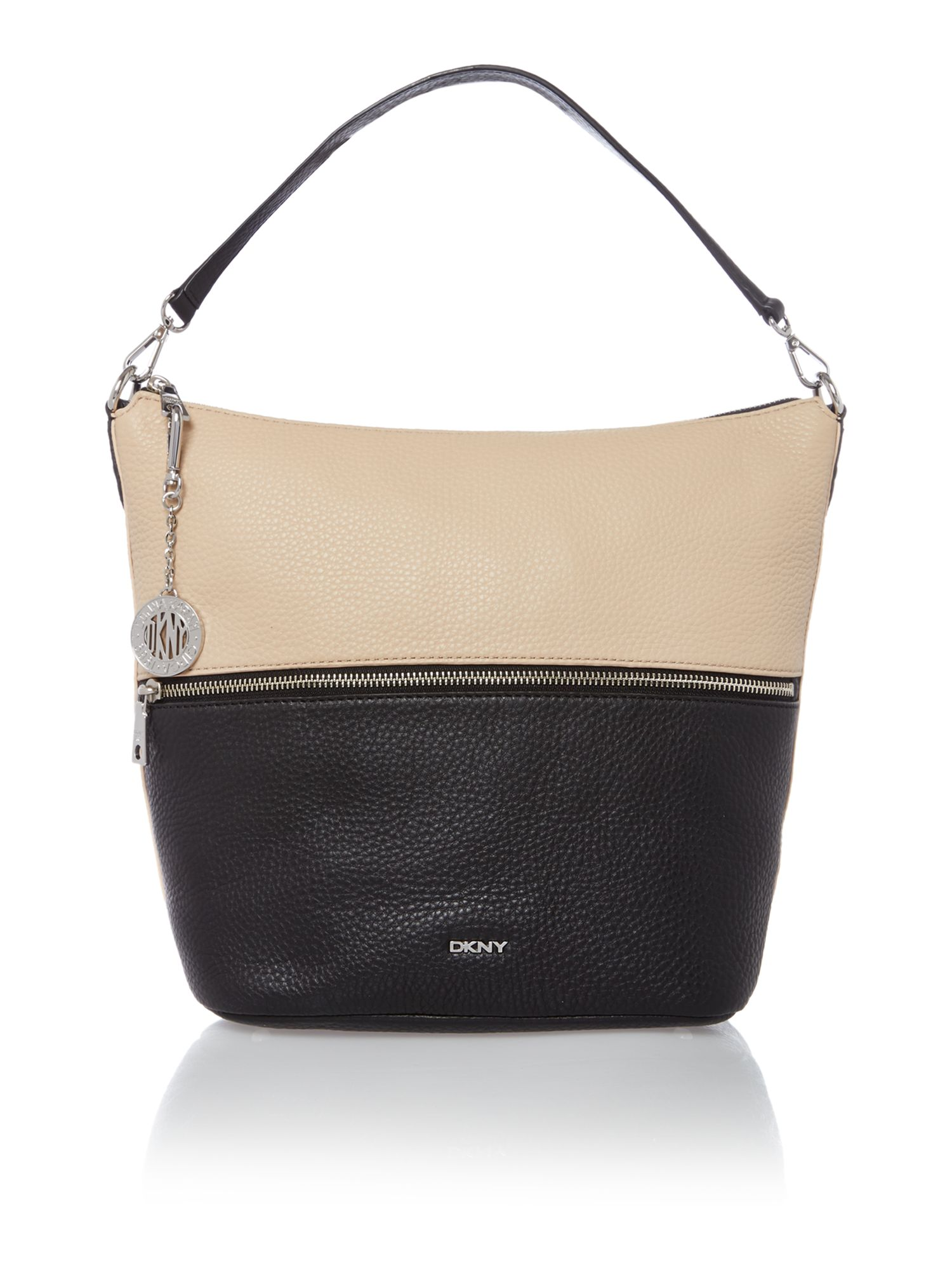 Tribeca colour block black hobo bag