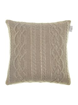 Mohair effect cable knit cushion