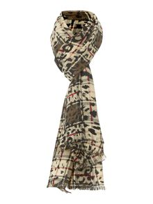 Check overprint leopard wool mix scarf