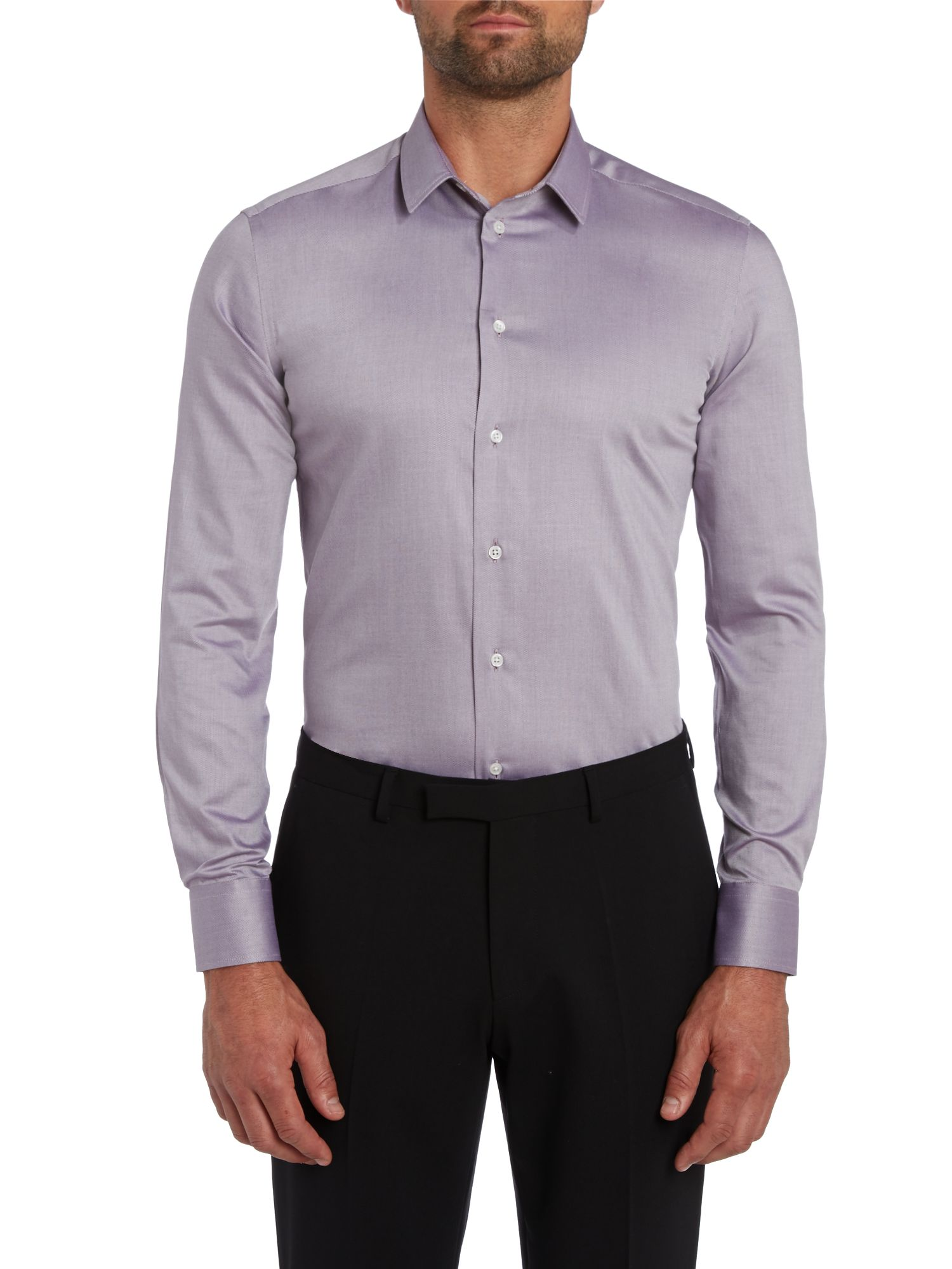 Purple twill slim fit shirt