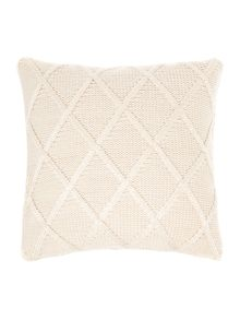 Mohair effect cable knit cushion, cream