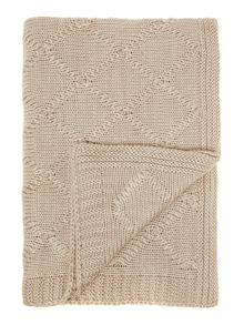 Mohair effect cable knit throw, cream