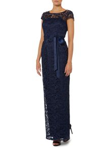 Adrianna Papell Lace maxi cap sleeved dress