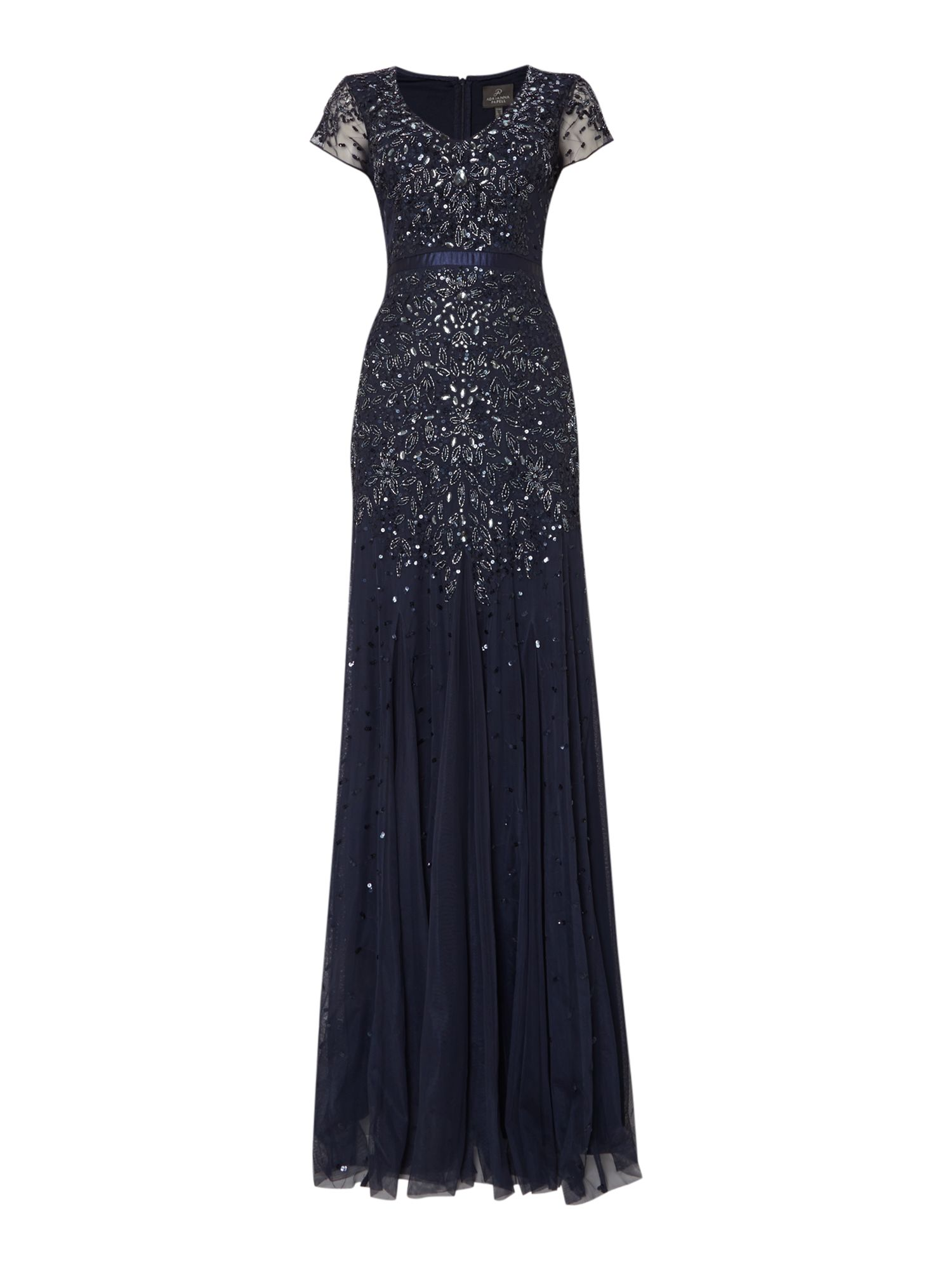 Long beaded v neck gown
