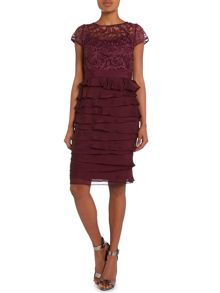 Lace neck tiered cocktail dress