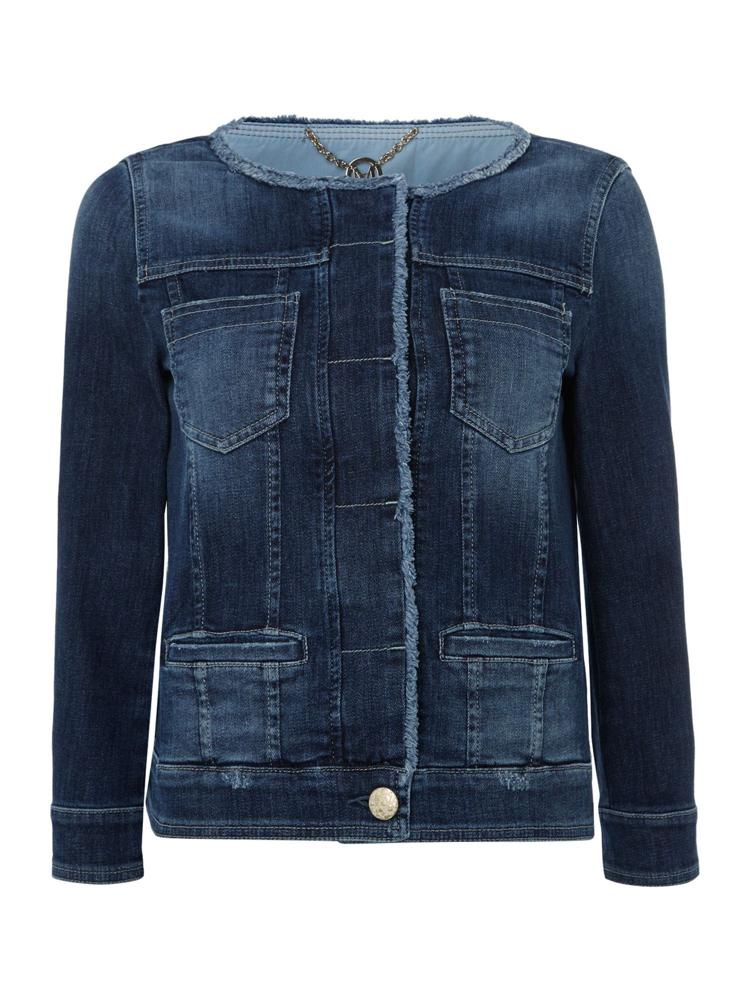 Damnia long sleeved collarless denim jacket