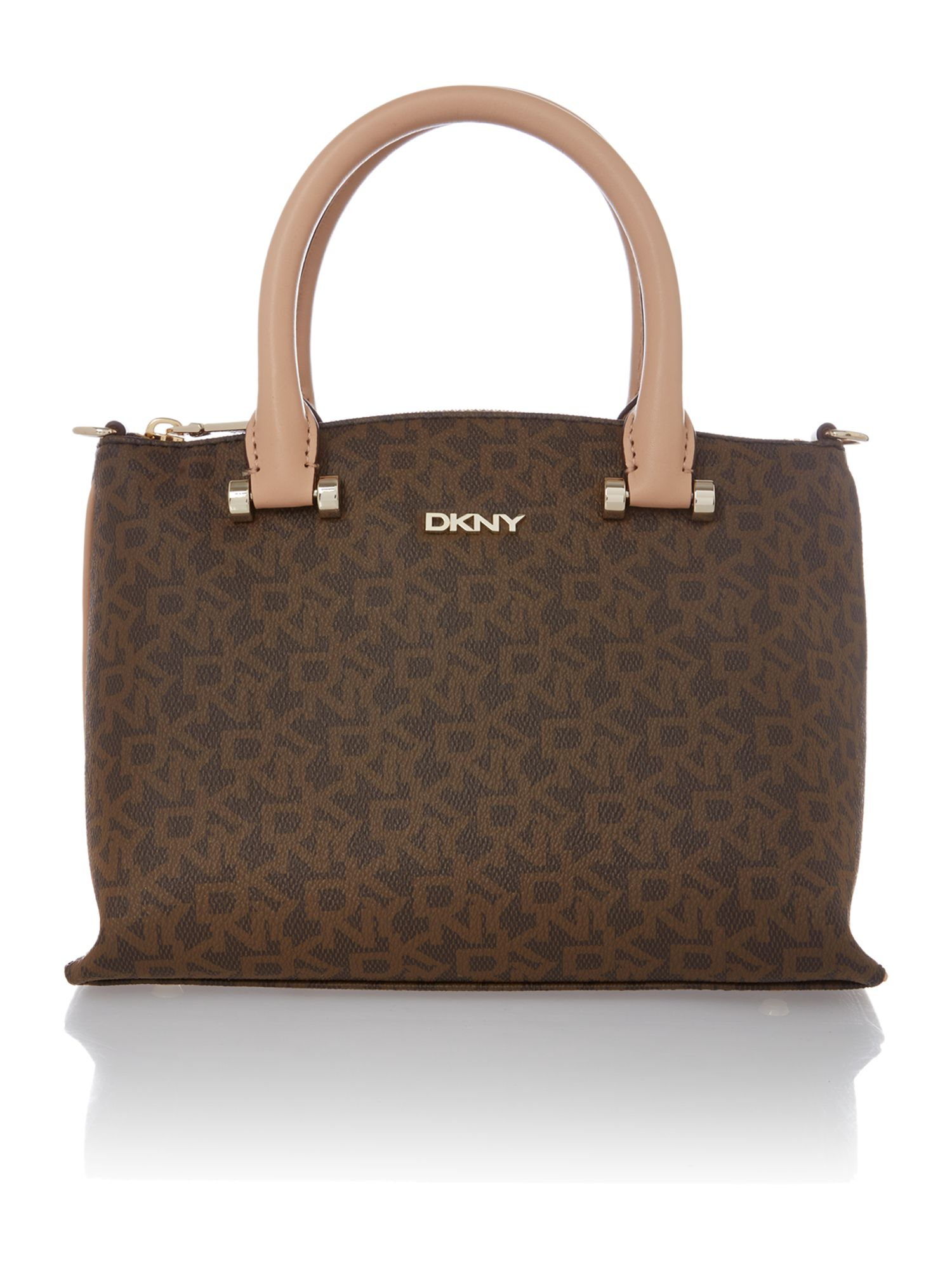 Coated logo brown mini tote bag