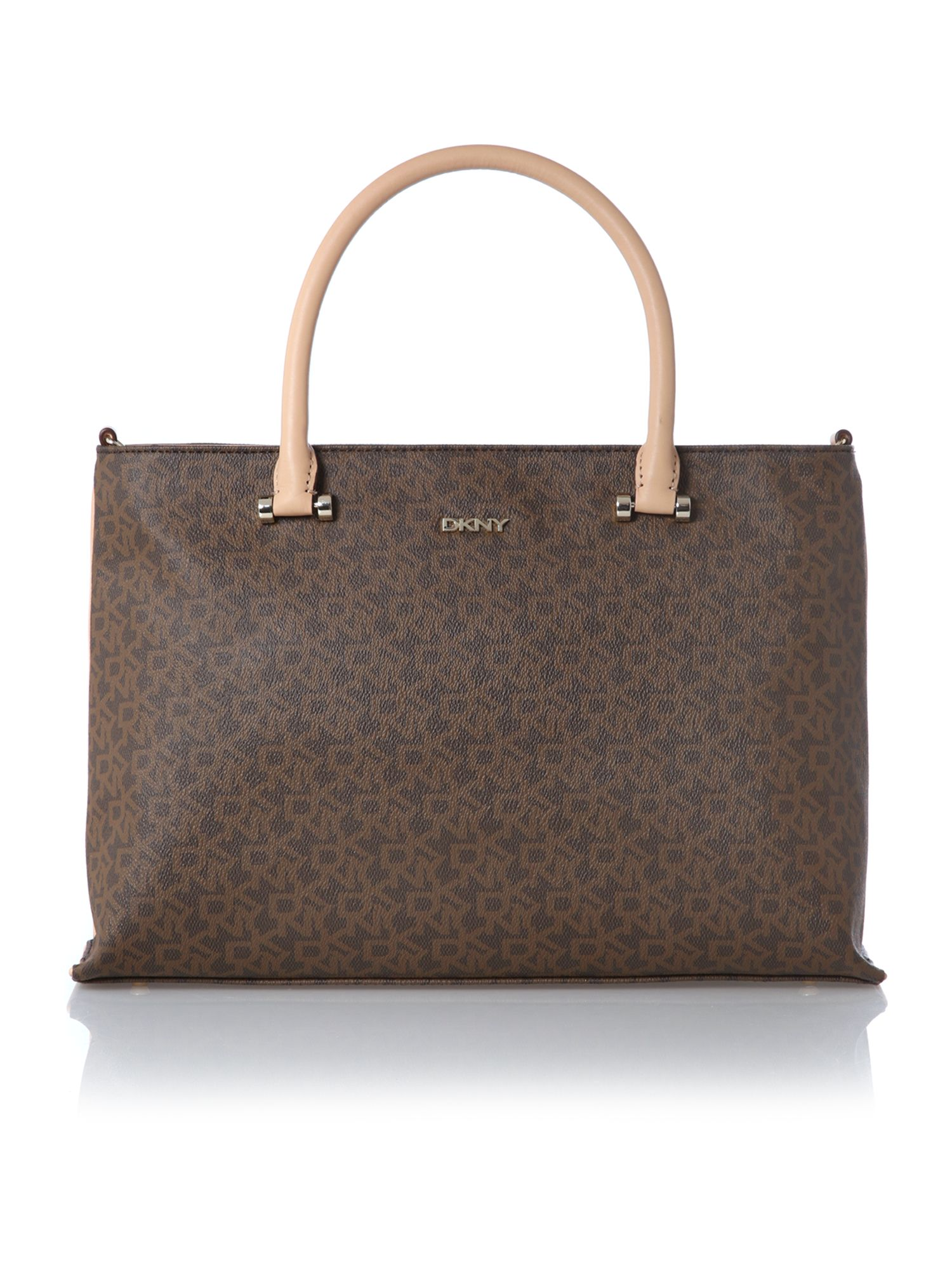 Coated logo brown large tote bag