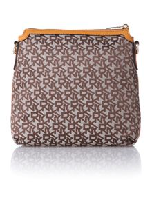 Saffiano tan crossbody bag
