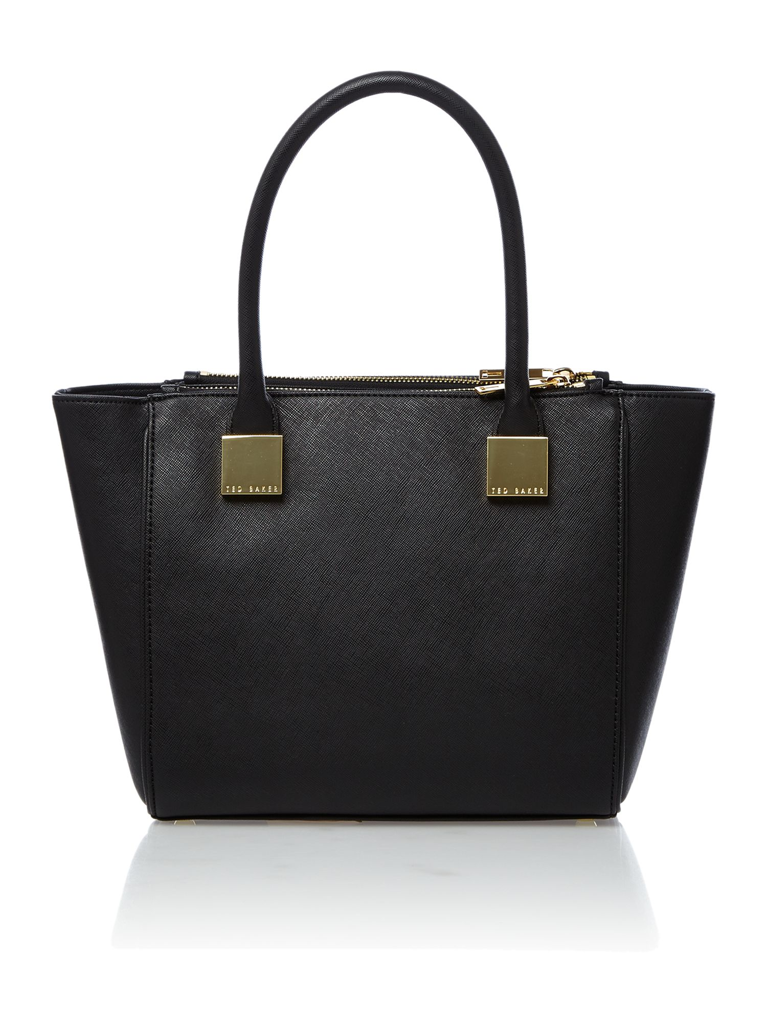 Black saffiano mini tote bag