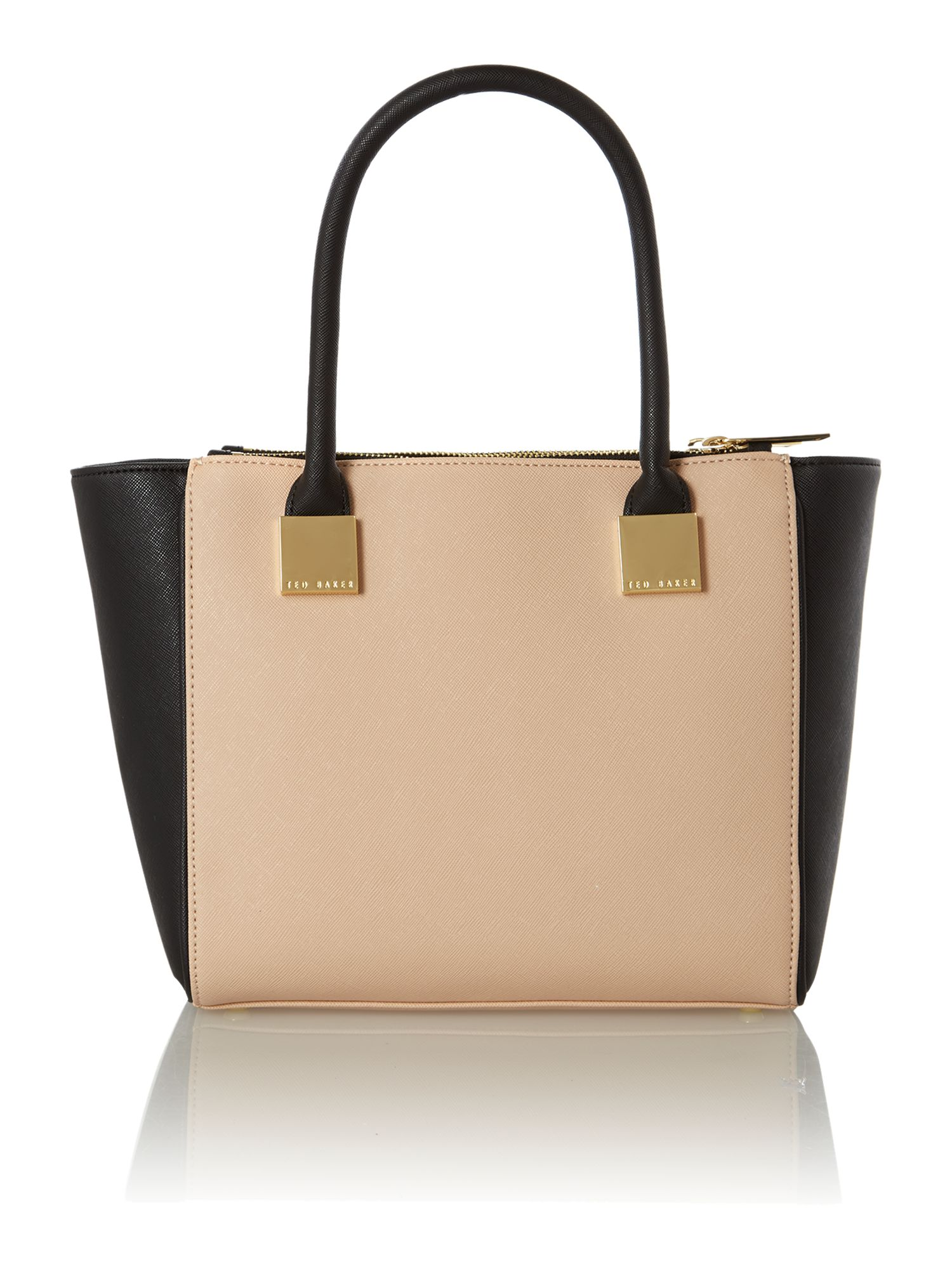 Neutral mini saffiano tote bag