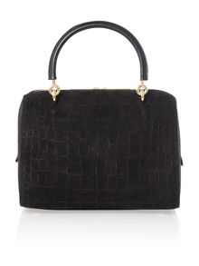 Black croc bowling bag with clutch