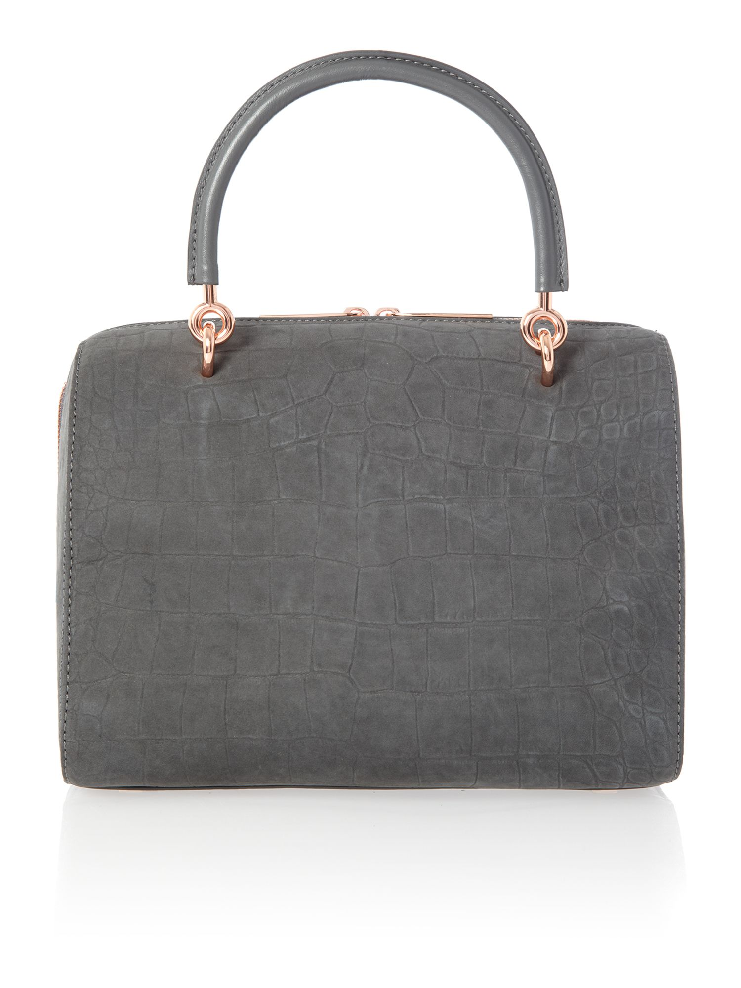 Grey croc bowling bag with clutch