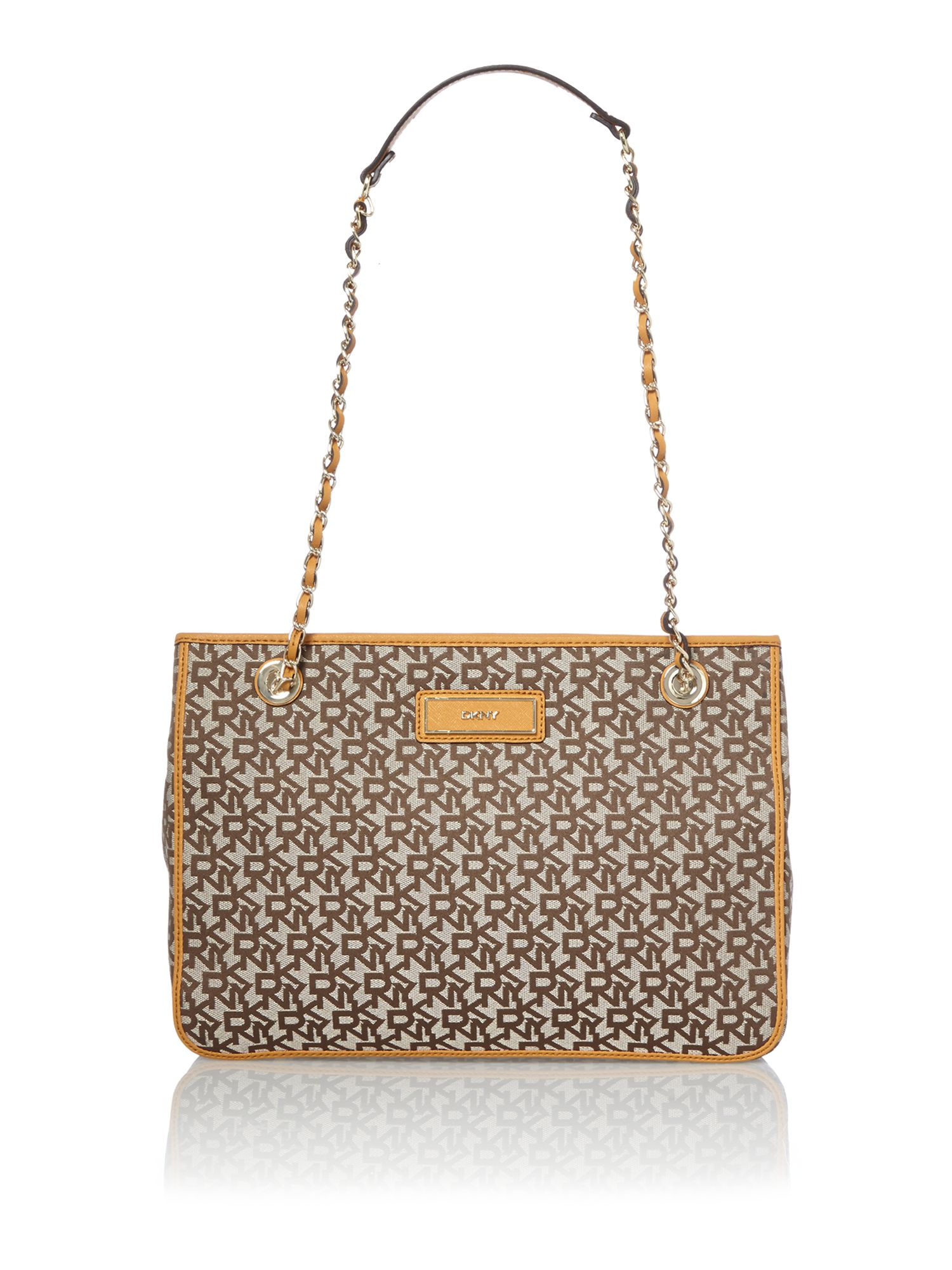 Saffiano tan chain tote bag