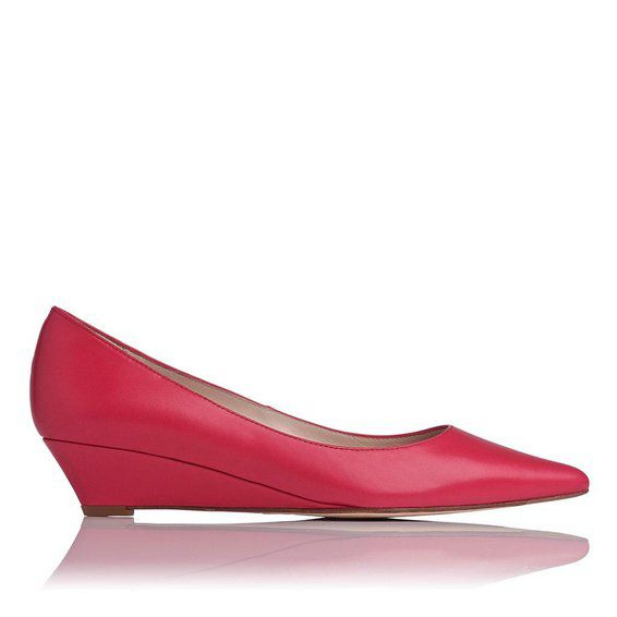Perla single sole point wedge court shoes