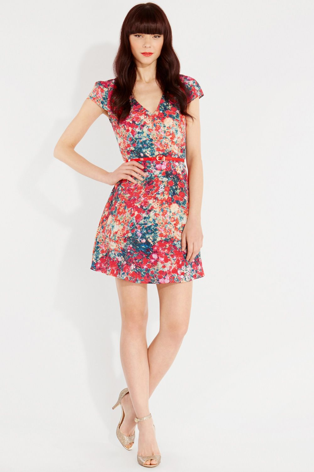 Blurred ditsy skater dress