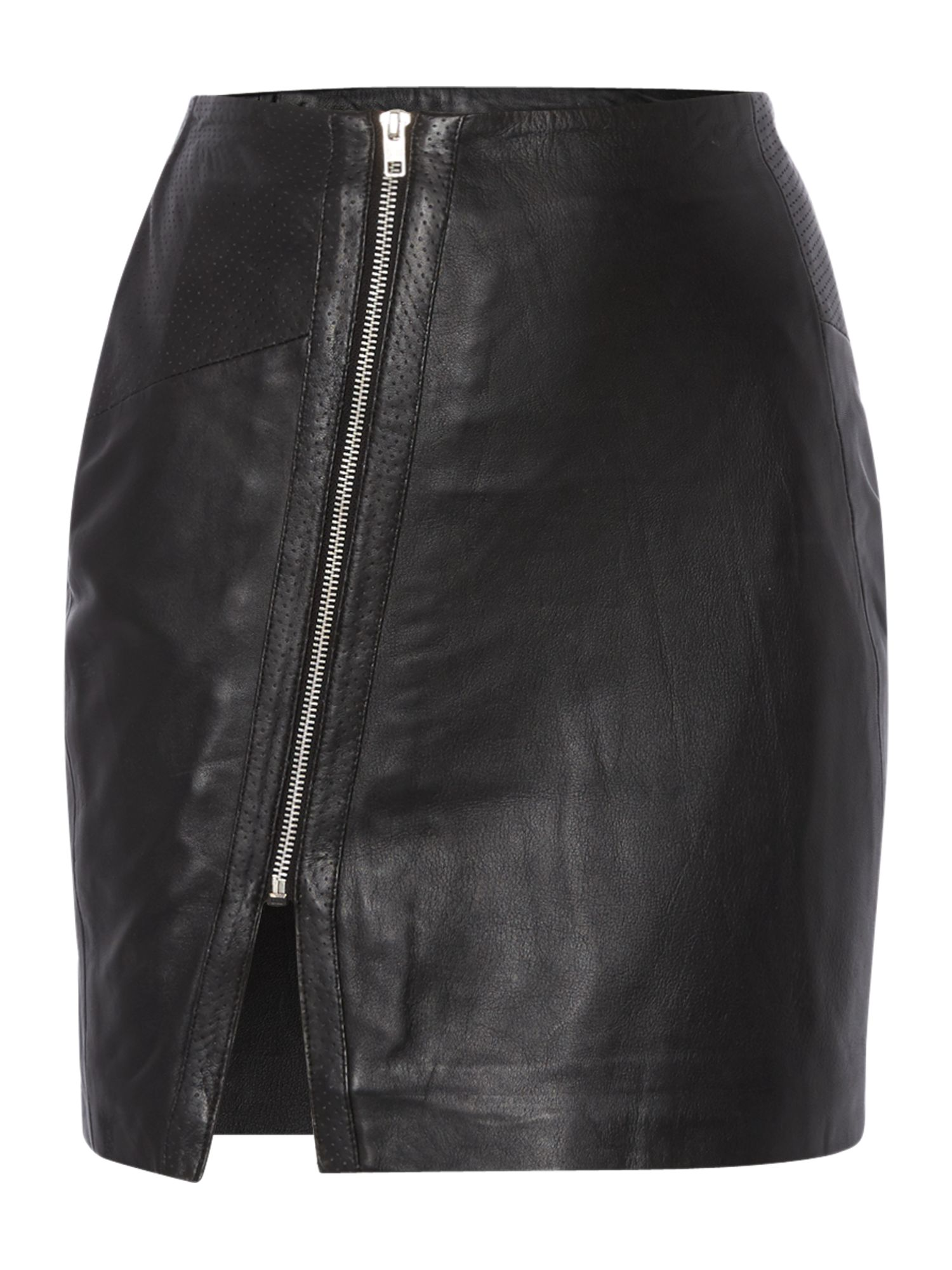 Leather asymmetric zip