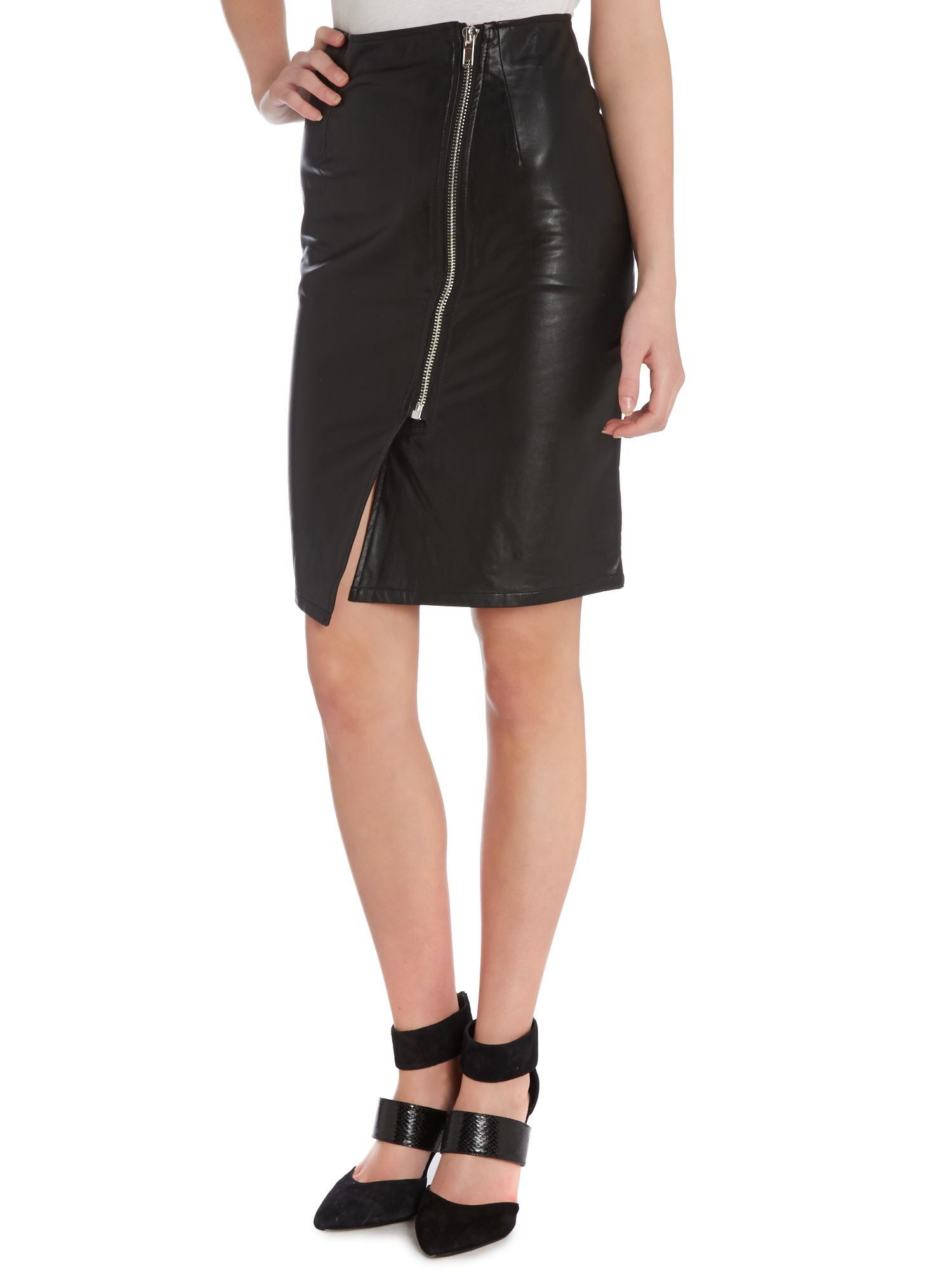High waist knee zip detail skirt