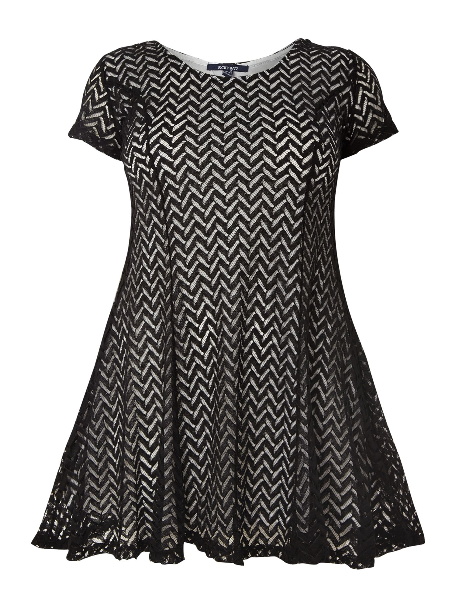 Lace zig-zag short dress