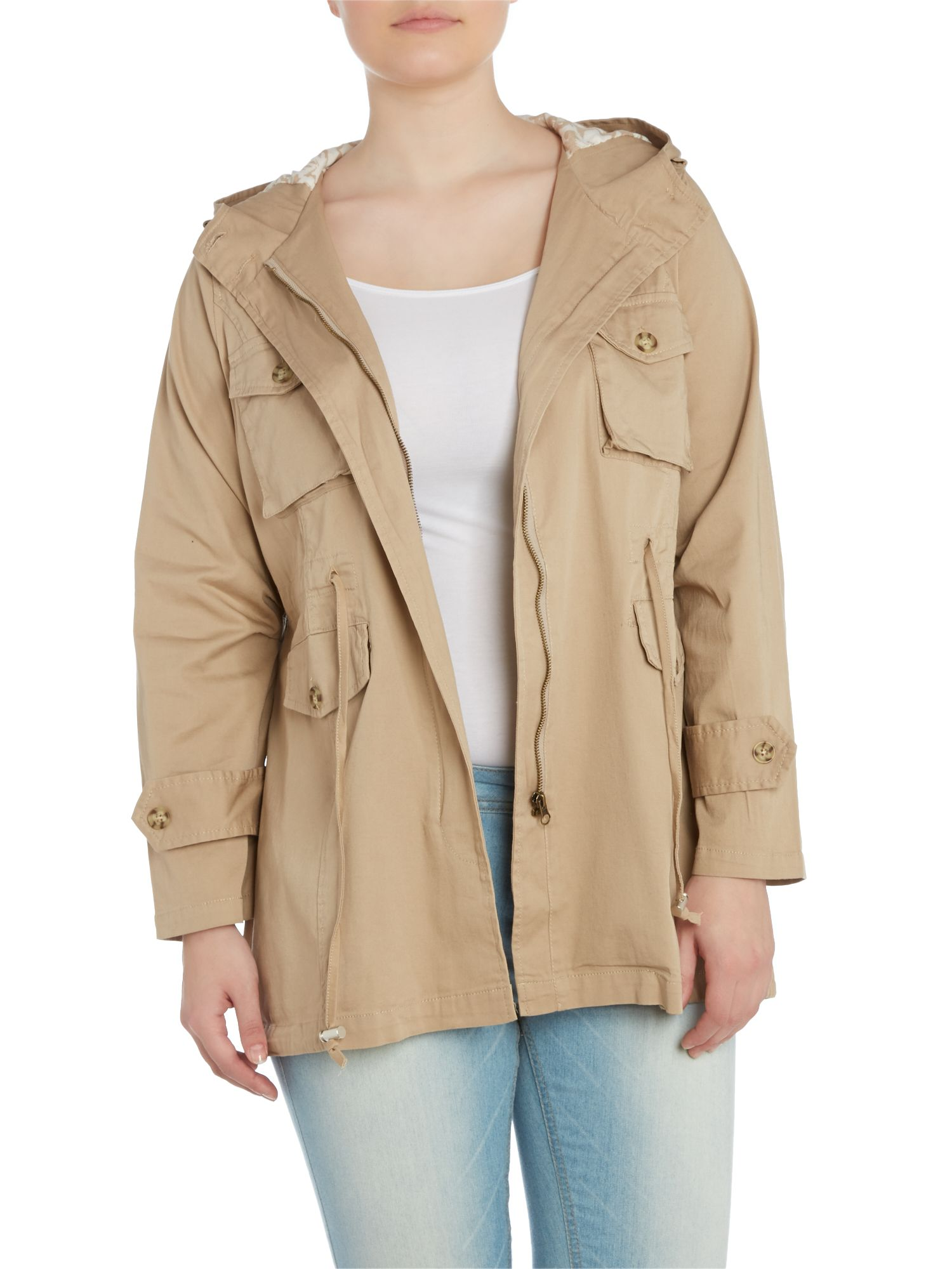 Hooded drawstring detail coat