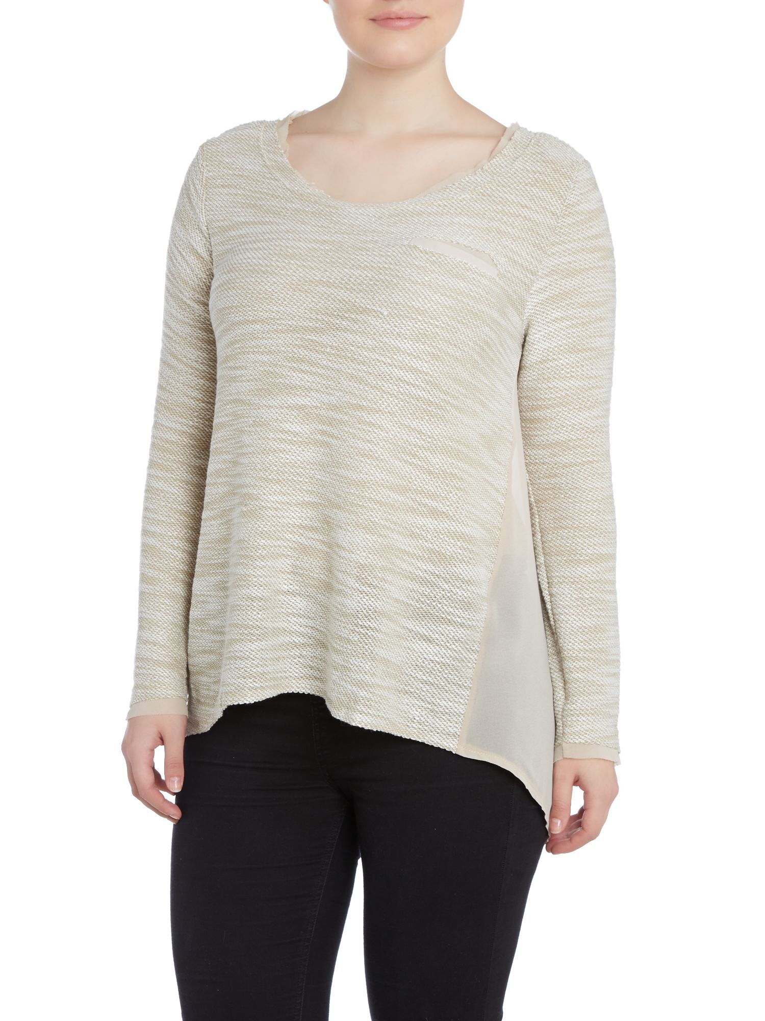 Embellished sheer panel top