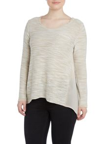 Samya Plus Size Embellished sheer panel top