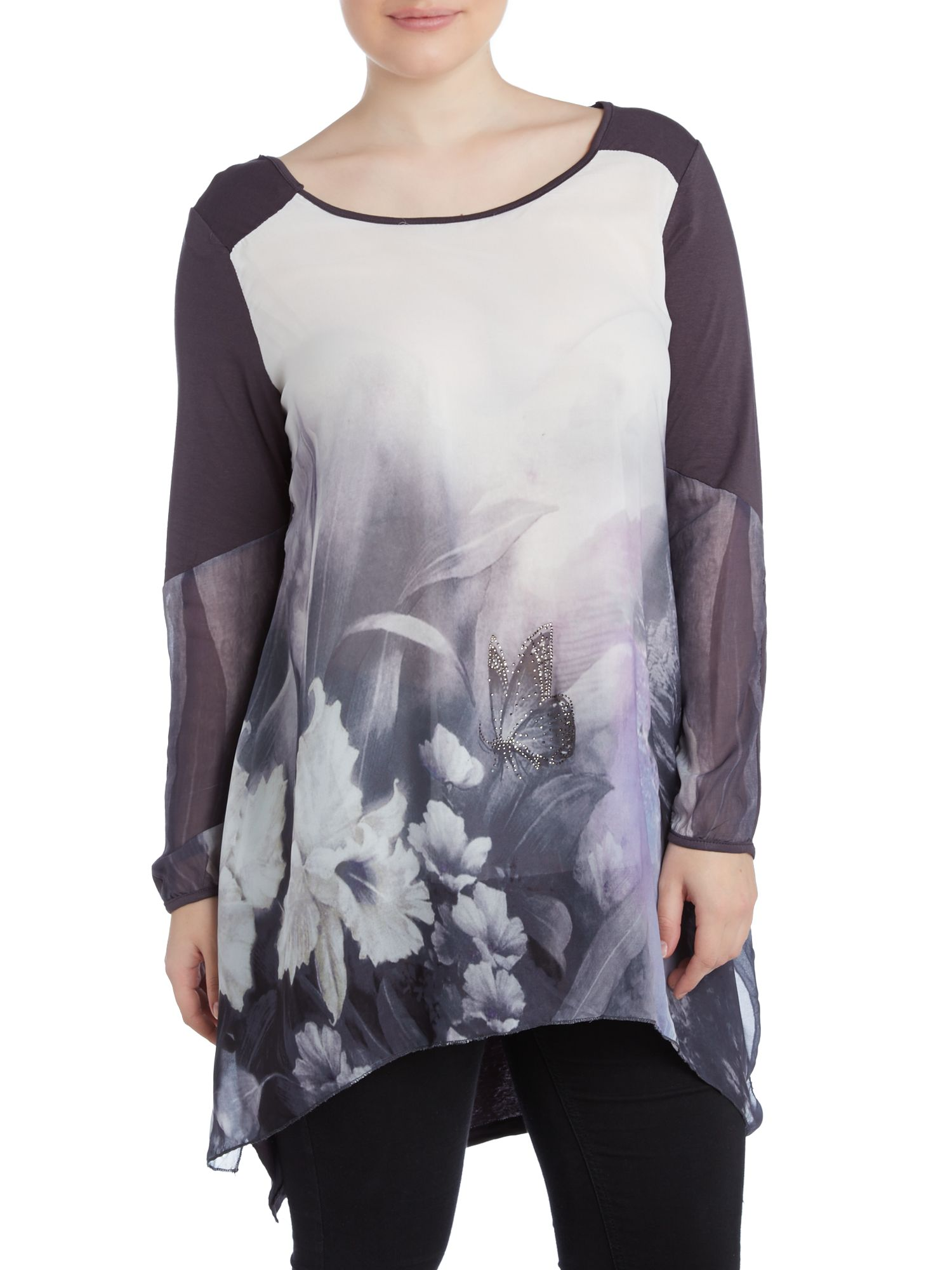 Floral butterfly water colour print top