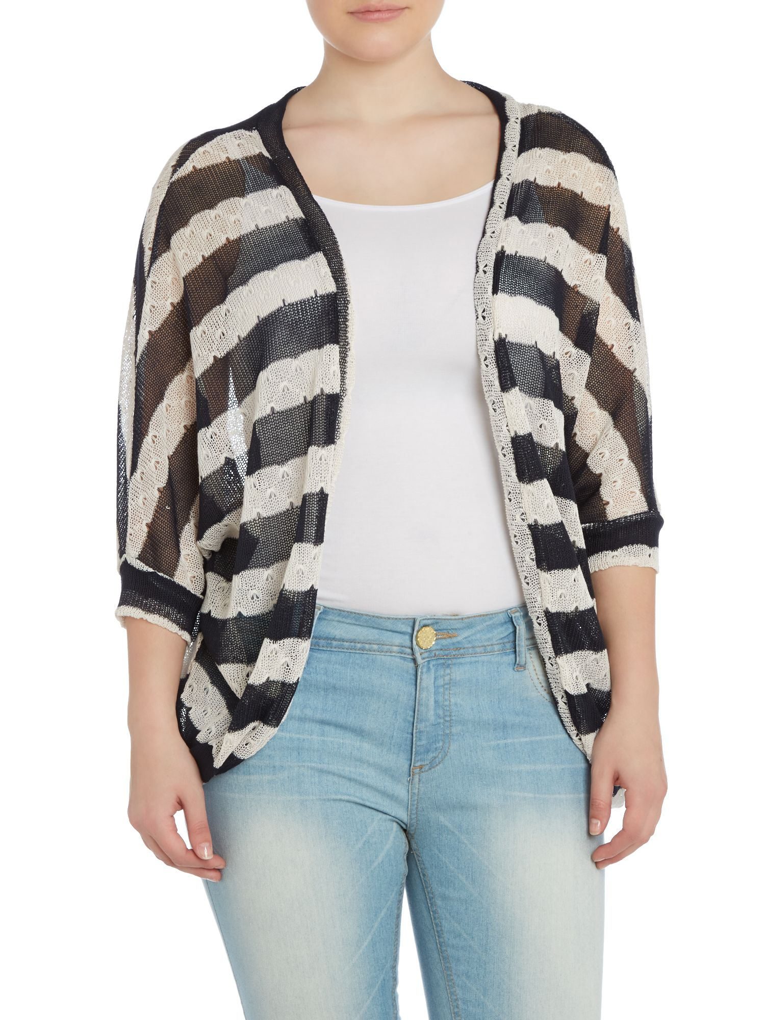 Stripe crochet knit cardigan