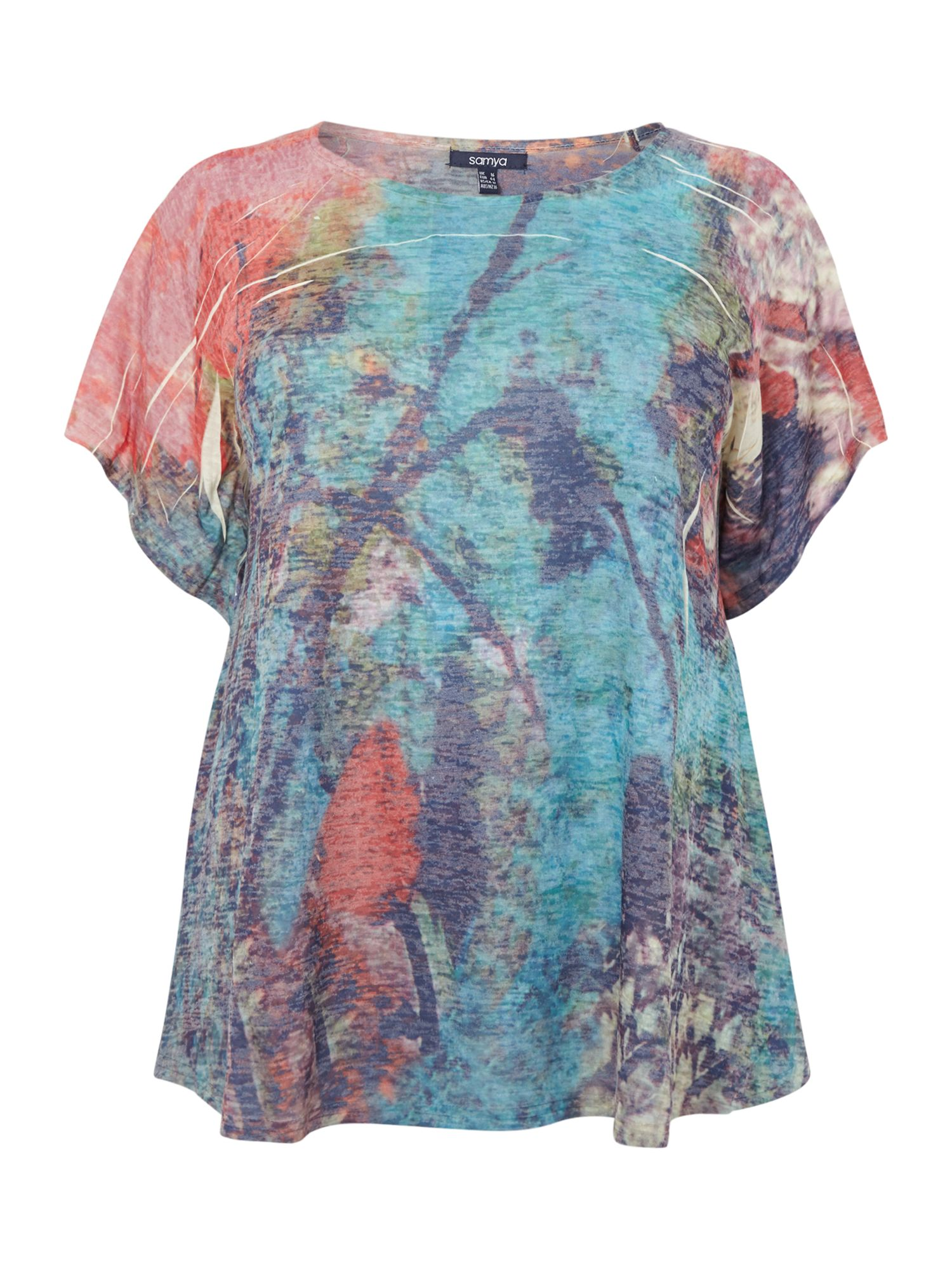 Multi print pointed sleeve top
