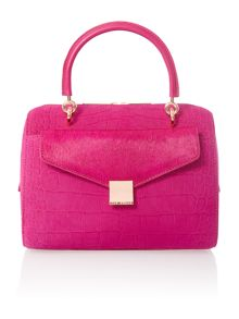 Pink croc bowling bag with clutch