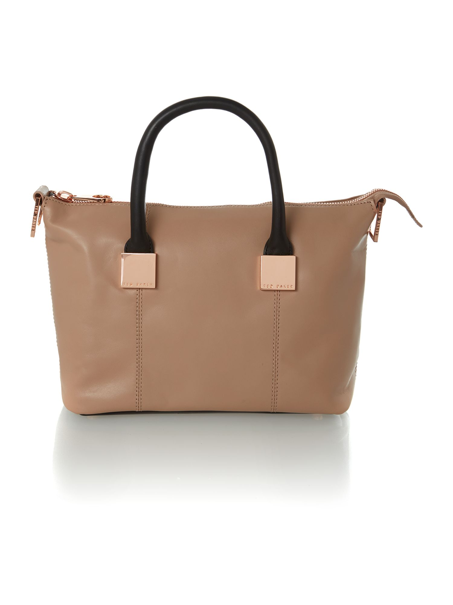 Neutral colourblock small square tote bag