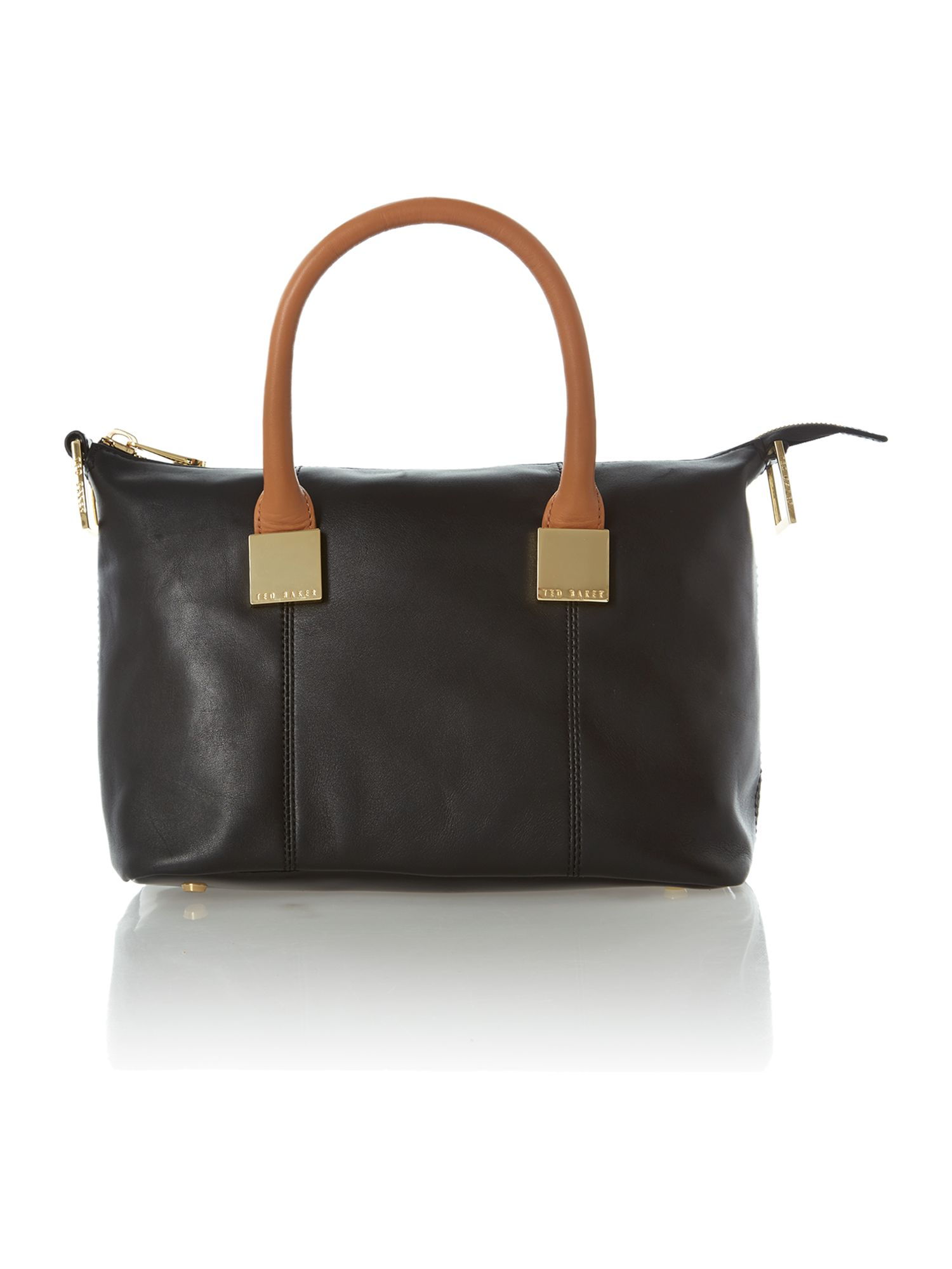 Black colourblock small square tote bag