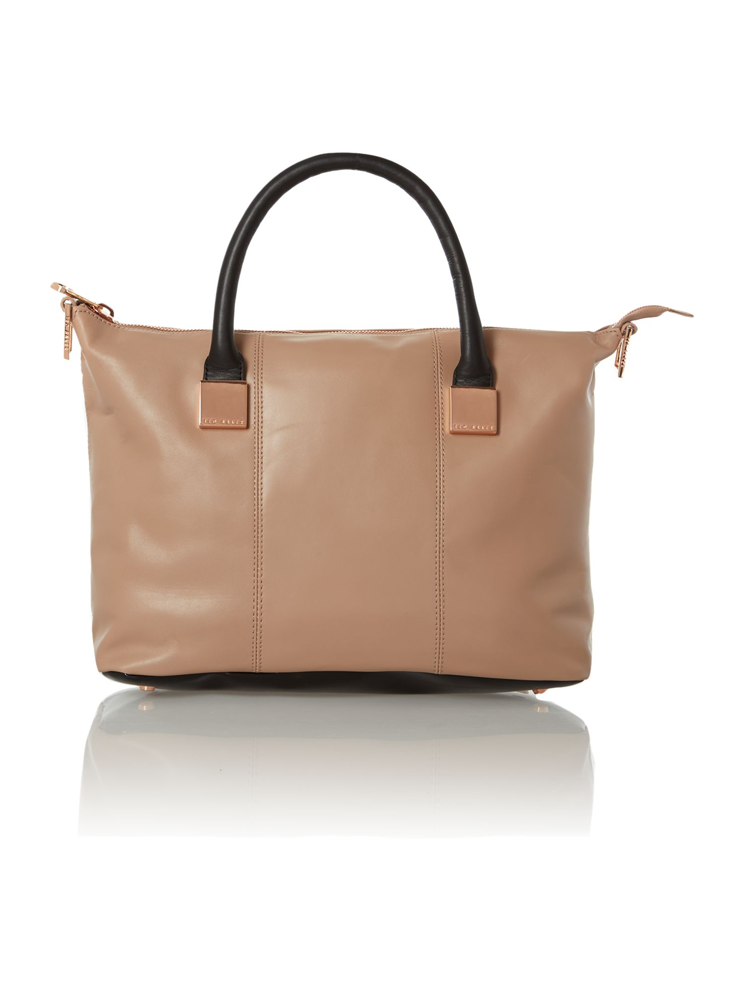 Neutral colourblock medium square tote bag