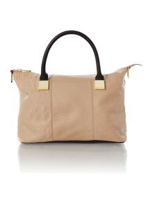 Cream colourblock medium square tote bag