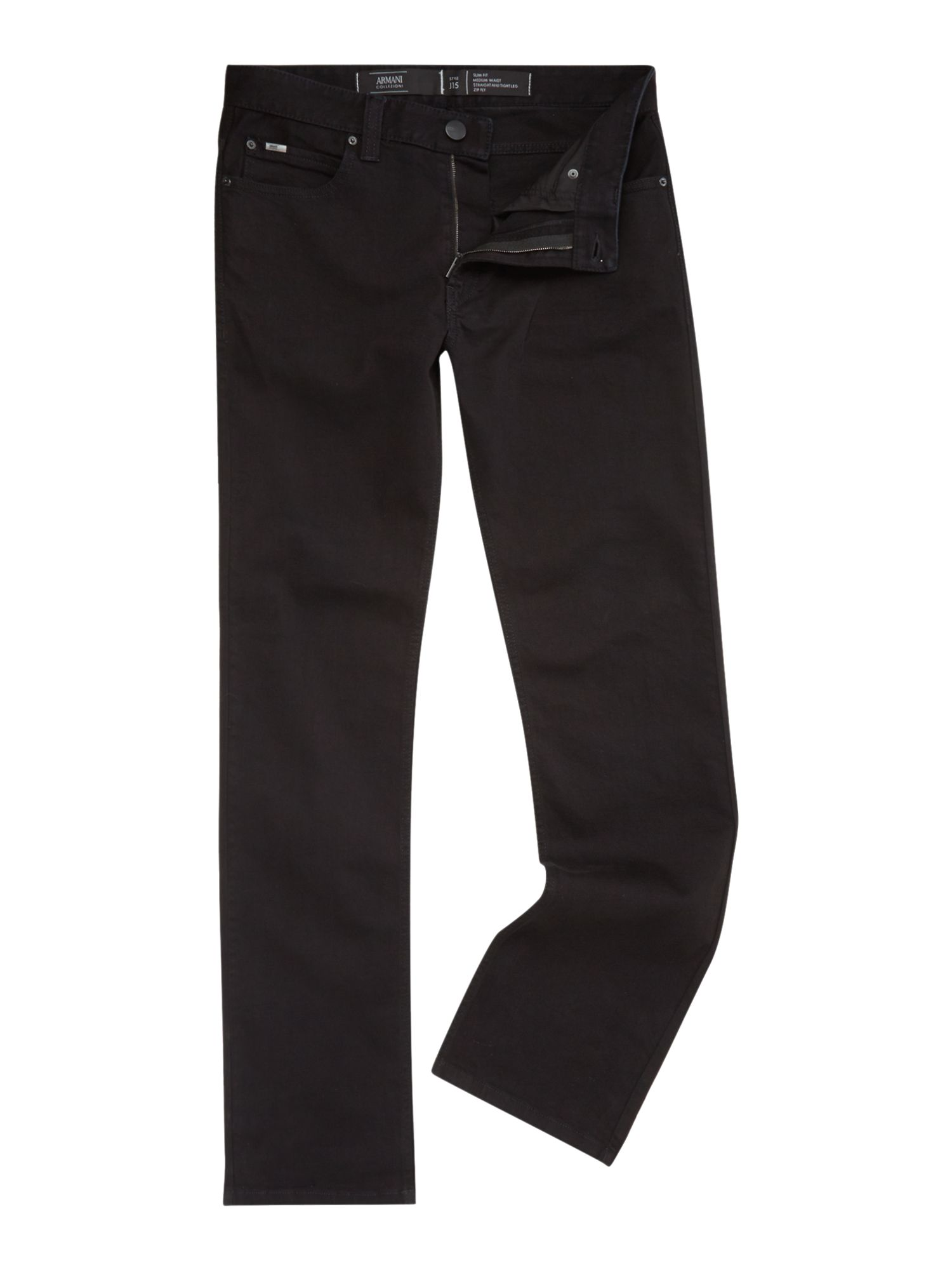 Regular fit straight leg black jeans