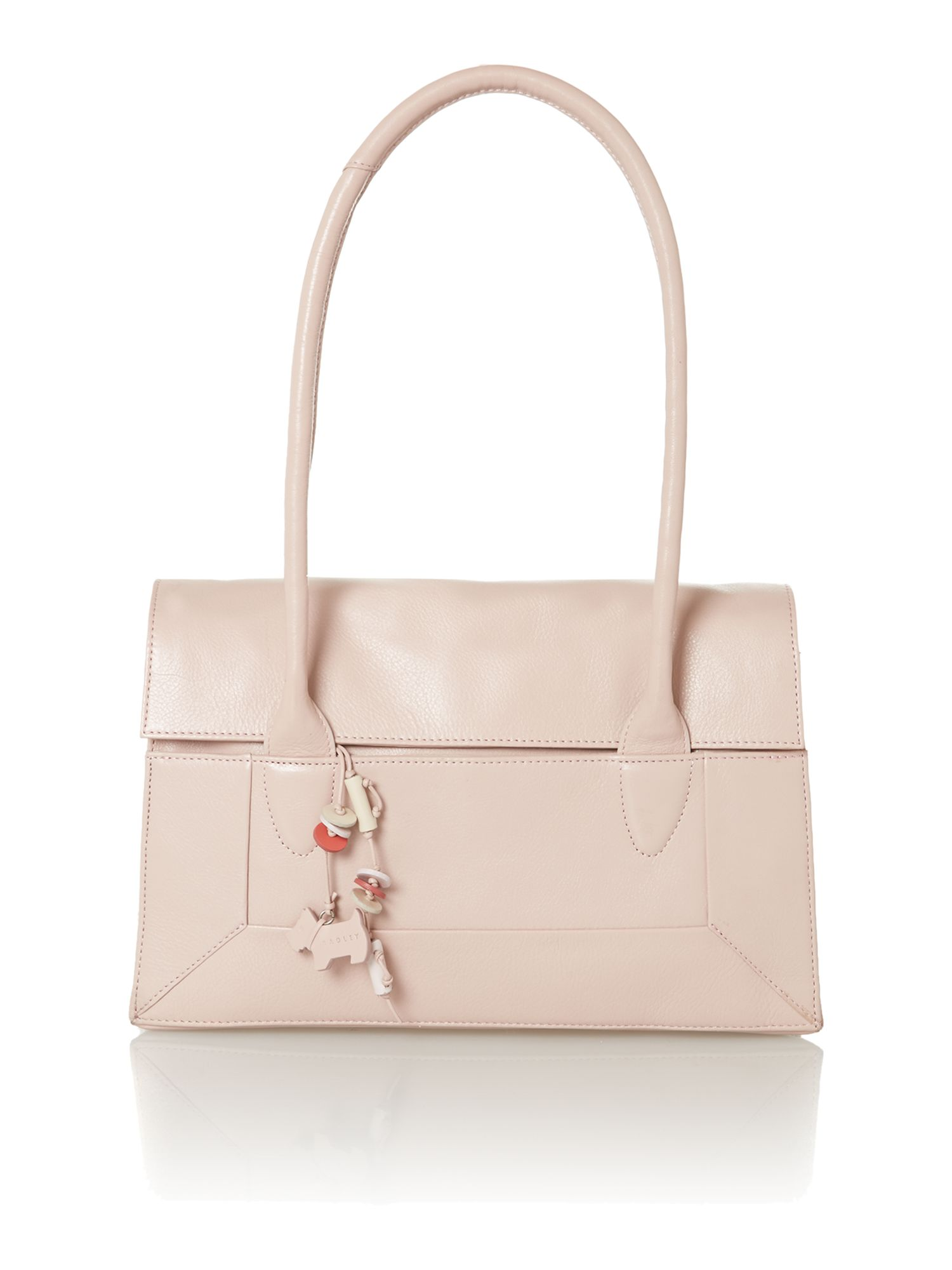 Border pale pink medium foldover tote bag