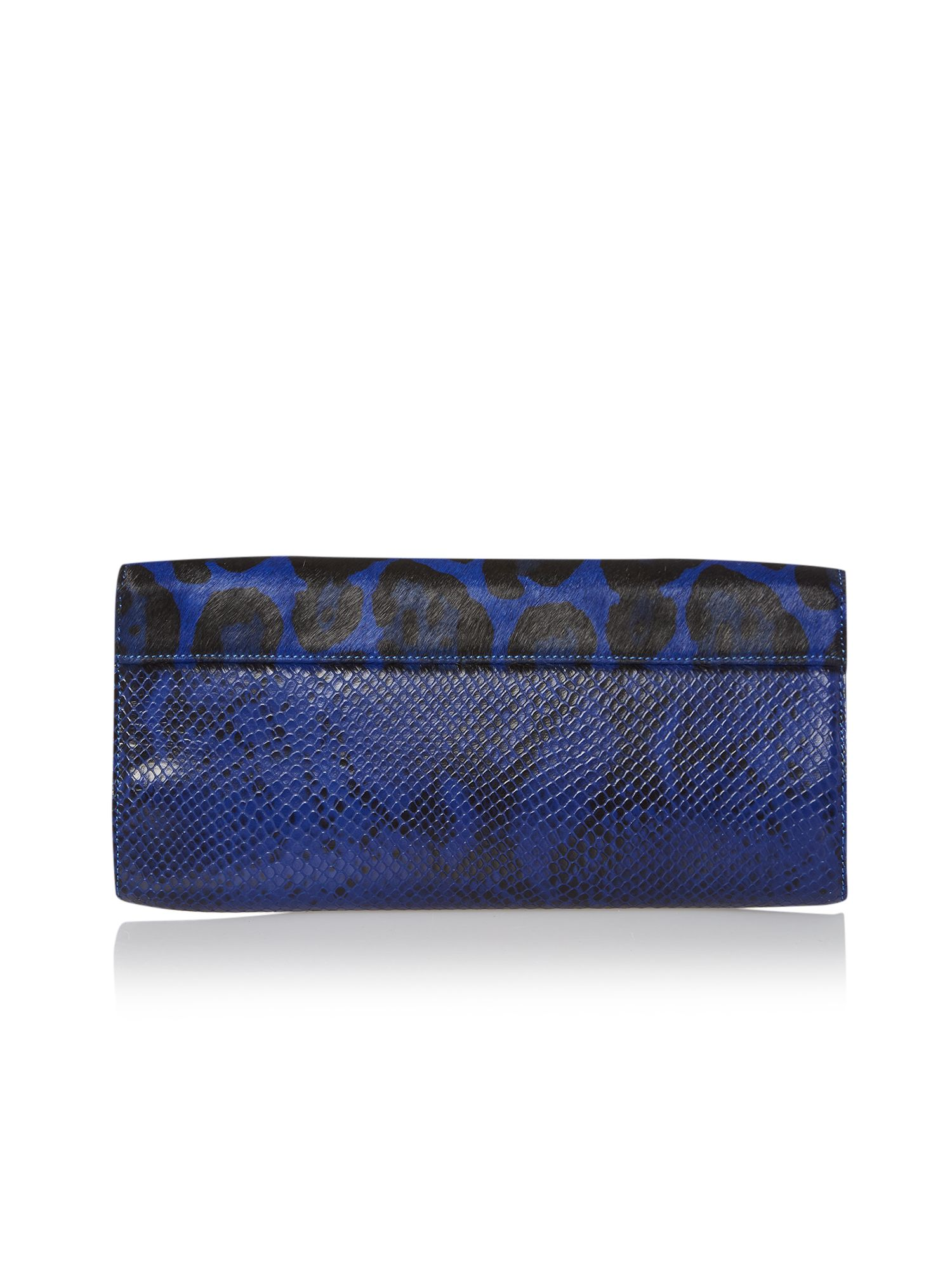 Blue animal print clutch bag