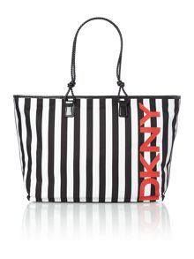 Beach multi stripe tote bag
