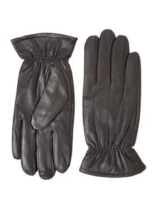 Leather ruched cuff gloves