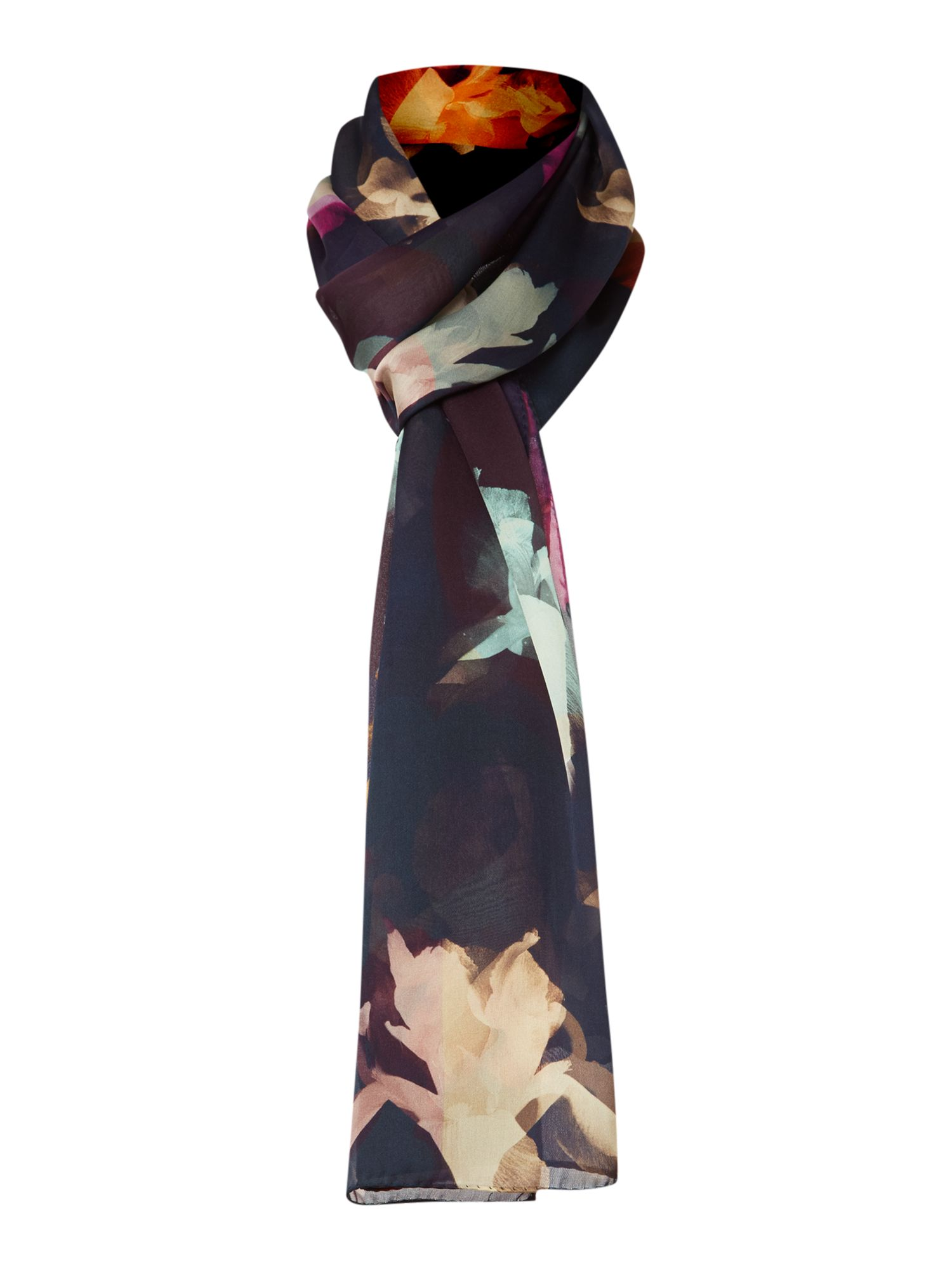 Photogram floral silk long scarf