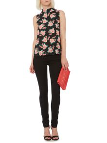 Rose printed roll neck blouse