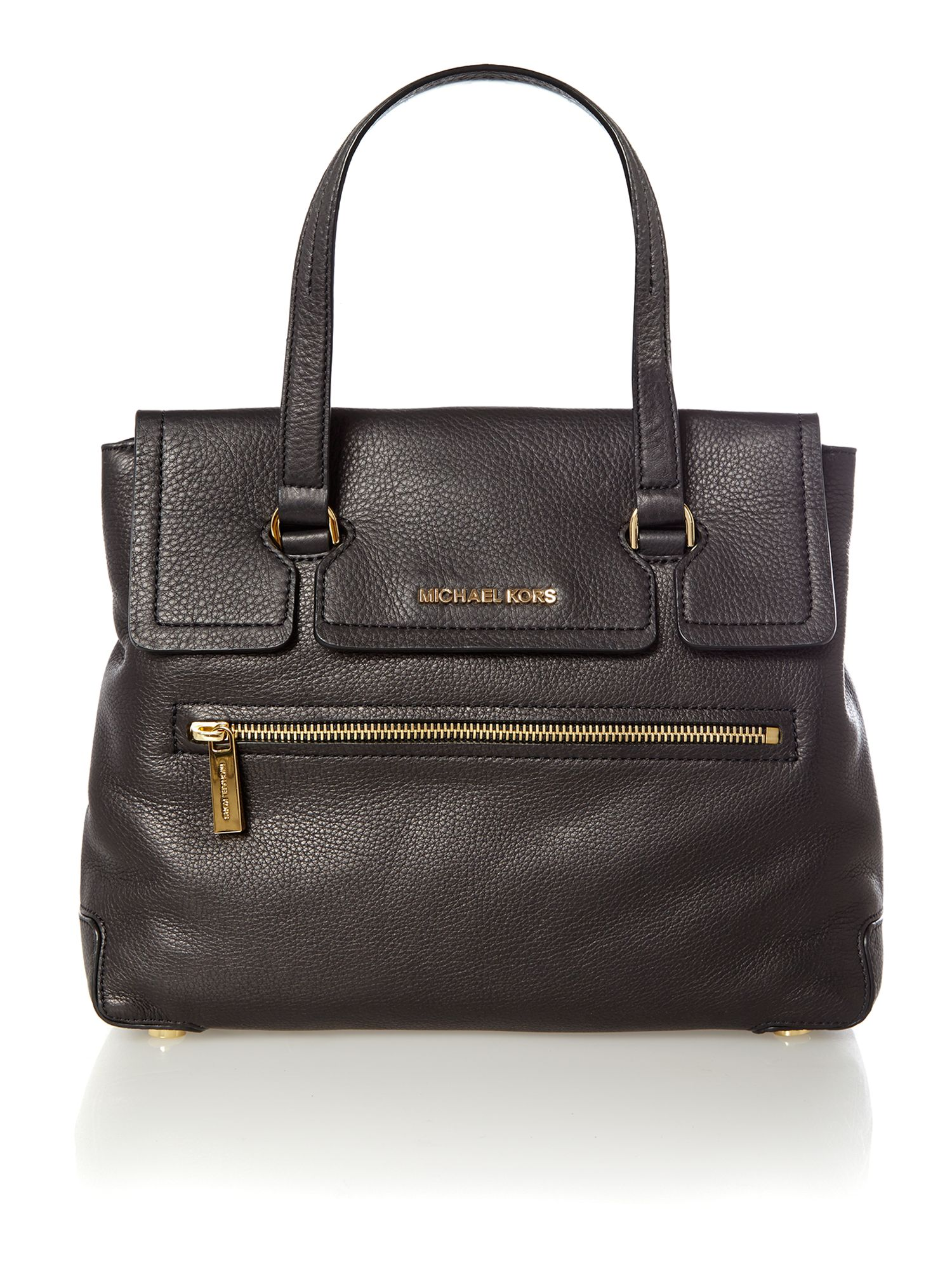 Mackenzie black large flapover tote bag